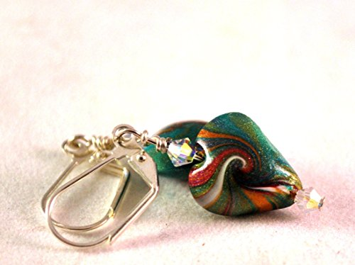 (Silvertone Heart Earrings Handmade Polymer Clay Beads in Teal with Swirls and Crystals by Swarvoski)