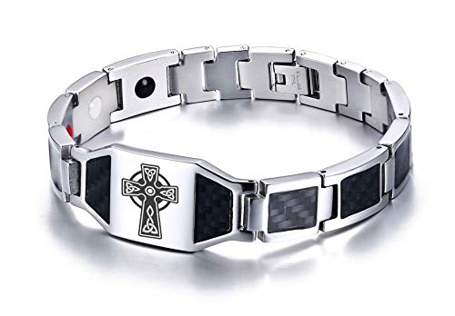 (XUANPAI Celtic Irish Knot Trinity Cross 4 in 1 Magnetic Therapy Health Carbon Fiber Bracelet for Men Dad)