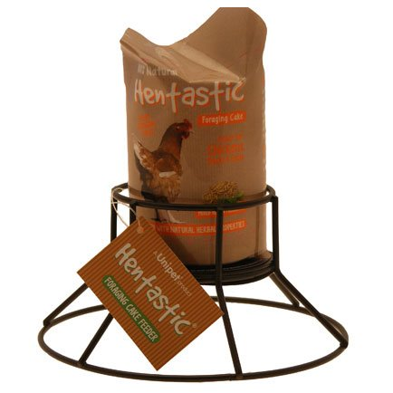 Hentastic Foraging Cake Feeder & Cake - 2 Flavours available - Great For all Poultry (Garlic Ginger & Herbs) Unipet