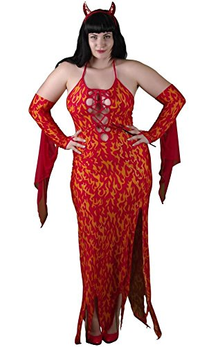 Delicate Illusions Plus Size Bedazzled Devil Gown Womens Halloween Costume 7X (28-30) Red (Halloween Illusion Costumes)