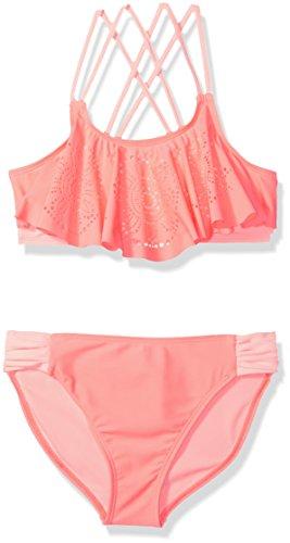 Angel Beach Big Girls Coral Lasercut Flounce Bikini Swim Set, 10