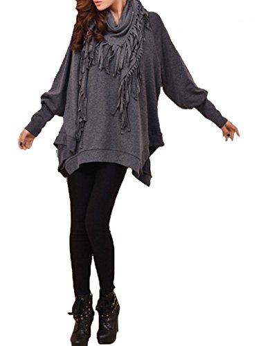 ELLAZHU Women Bat-wing Long Sleeves Sheer Sweater With Scarf DY107 Grey