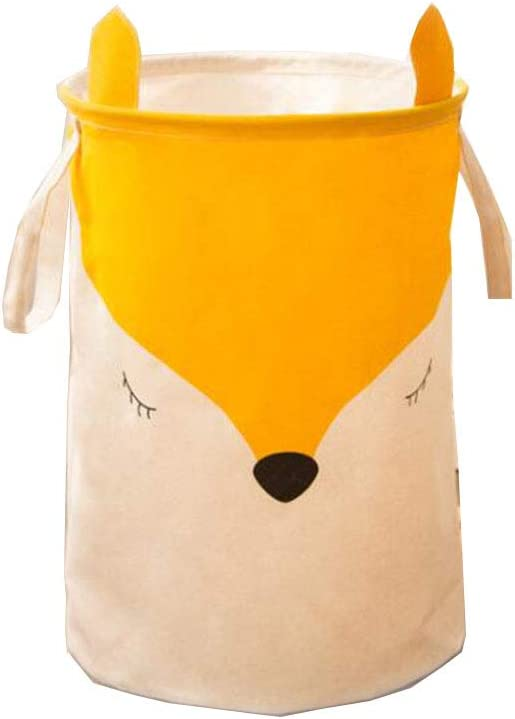 NSYNSY Large Sized Waterproof Cotton Fabric Folding Laundry Hamper Bucket,Cylindric Burlap Canvas Storage Basket with Cute Fox Design (Yellow),2