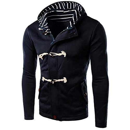 Winter Button Cotton Military Hooded Jackets Outdoor Coat Windproof Windbreaker (M, Navy) ()