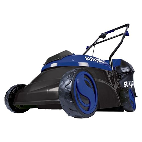 Sun Joe MJ401C-XR-SJB 14-Inch 28V 5 Ah Cordless Lawn Mower w/Brushless Motor, Dark Blue (Best Riding Mower For 5 Acres)