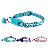 Lupeta Schneeflocke Reflektierendes Katzenhalsband Sicherheitsverschluss mit Glöckchen Rosa Nylon Katzen Halsband Halsbänder Reflektierend für Katzen Kleine Hunde 20-32cm