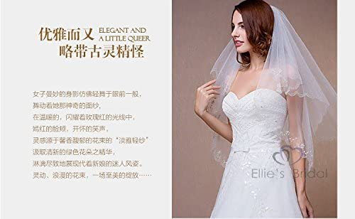 Simple Short Bridal Veils sequins lace Wedding Veil Comb Women With Beaded Edge