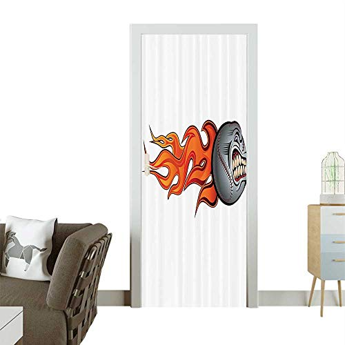 Door Sticker Wall Decals Flaming Angry Baseball Aggressive Scream Teeth Mean Scary mage Bathroom Accesso Easy to Peel and StickW32 x H80 INCH ()