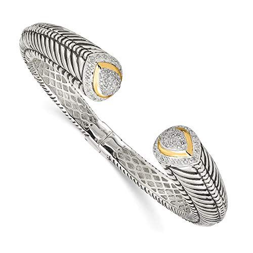 IceCarats 925 Sterling Silver 14k 1/2ct. Diamond Hinged Cuff Bracelet Bangle