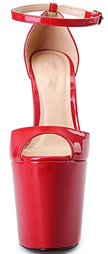 Abby A14 Womens Supper High Heeled 8.7IN Nightclub Party Cross Dressing Overside US9-19 Stainless Steel Heel Platform Peep Toe PU Sandals Red X8DbA0qv4
