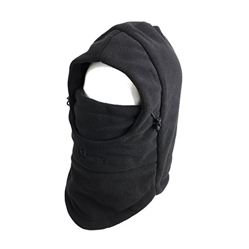 TRIWONDER Balaclava Hood Hat Thermal Fleece Face Mask Neck Warmer Full Face Cover Cap Winter Ski Mask (Black - Thicken) -