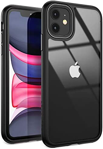 YOUMAKER Stylish Crystal Clear Case for iPhone 11, Anti-Scratch Shock Absorption Slim Fit Drop Protection Premium Bumper Cover Case for iPhone 11 6.1 inch - Black