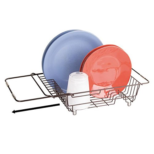 mDesign Kitchen Over-the-Sink Expandable Dish Drainer Rack f