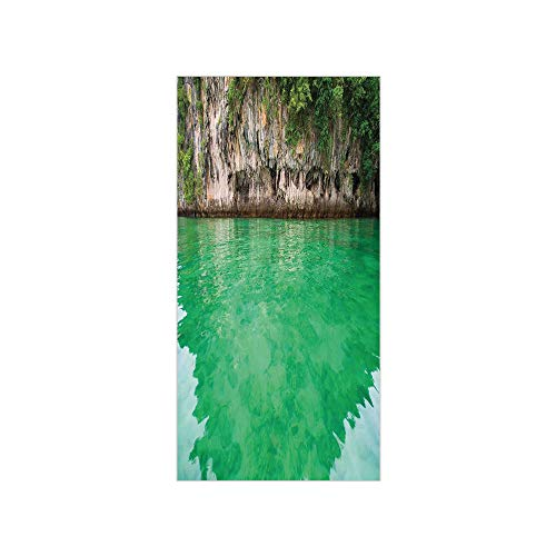 3D Decorative Film Privacy Window Film No Glue,Nature,Lagoon KOH Hong Krabi Thailand Cliff Reflection on Sea Tropical Seascape,Fern Green Warm Taupe,for -