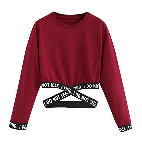 Women's Letter Print Crop Tops, ZYooh Causal Long Sleeve Short Sweatshirt Pullover Tops Blouse with Bandage(Red,L)
