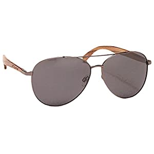 Coyote Eyewear Flywood Polarized Aviator Sunglass with Natural Wood Temples, Gunmetal/Zebrawood/Gray