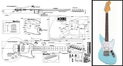amazon.com: plan of fender jagstang electric guitar - full scale print:  musical instruments  amazon.com