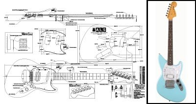 amazon com plan of fender jagstang electric guitar full scale gibson explorer wiring diagram plan of fender jagstang electric guitar full scale print