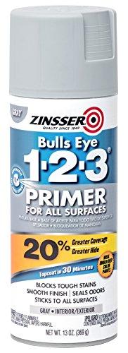 Rust-Oleum 293740 Gray Zinsser Bulls Eye 1-2-3 Plus Interior/Exterior Primer, 13 oz. Aerosol Spray Can (Pack of 6)