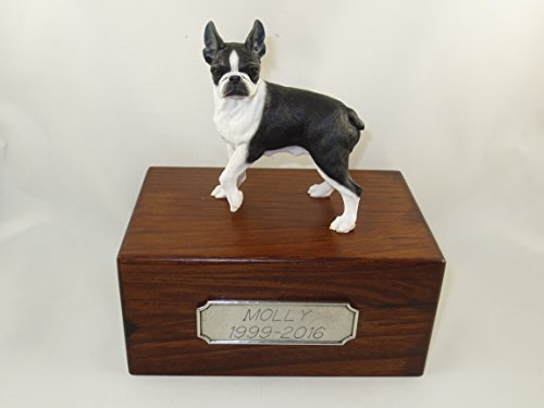 Beautiful Paulownia Small Wooden Urn with Boston Terrier Figurine & Personalized Pewter Engraving