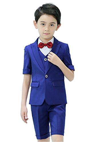 Boys Short Suit 5 Piece Slim Fit Suit for Boys Royal Blue Size 4T by Iyan