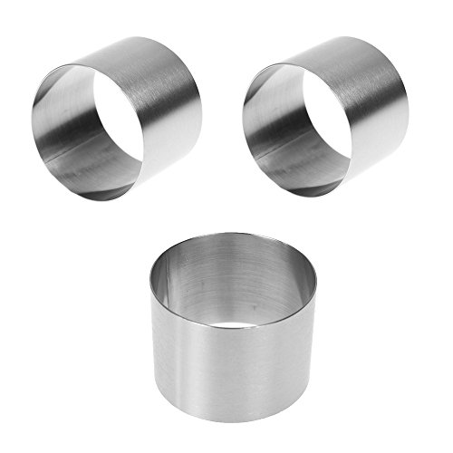 (3 Pcs Stainless Steel Mini Round Food Pastry Ring Mousse Cake Mold, Surface Brushed Treatment, Durable, Anti-Fingerprints, Wear-resistant, 2 Inch Diameter, 1.5 Inch Height)