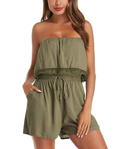 - Auxo Womens Romper Short Summer Off Shoulder Lace Crochet Jumper One Piece Jumpsuit Playsuit 06-Army Green 2XL