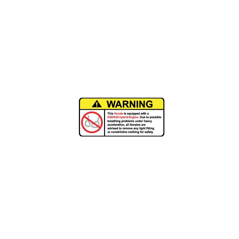 Honda K20/k24 Hybrid Engine No Bra, Warning decal, sticker