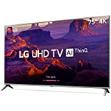 "Smart TV 4K LED 75"" HDR Ativo ThinQ IA IPS 4K Display DTS Virtual X, LG, 75UK6520PSA"
