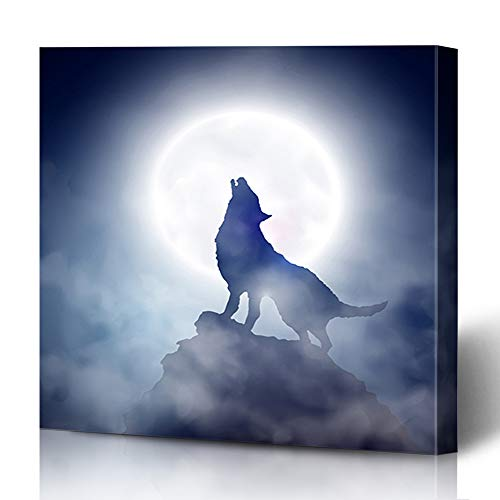 Ahawoso Canvas Prints Wall Art 12x16 Inches Cliff Blue Werewolf Wolf Howling Moon Scene Nature Fog Mountain Coyote Full Design Painting Decor for Living Room Office Bedroom ()