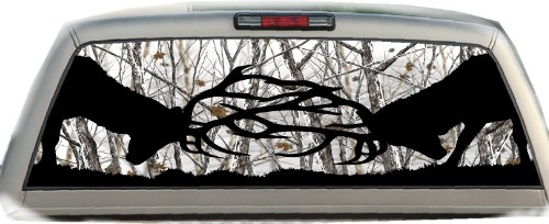 Bucks Fighting #2- 22 Inches- by- 65 Inches- Rear Window Graphic- (Please Measure Your Window) ()