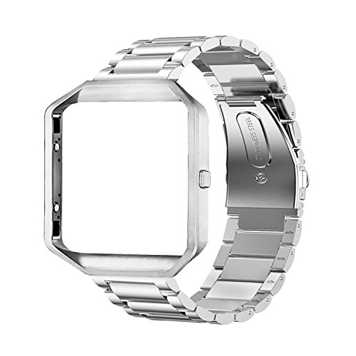 Oitom Metal Bands Compatible Fitbit Blaze Accessory Band Large,Frame Housing+Stainless Steel Bracelet Replacement Strap Watch Band for Fitbit Blaze Smart Fitness Watch Silver