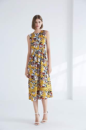 CIZITZZ Bodycon Dresses for Women Casual A-line Tank Sleeveless Business Plain Floral Print Sundresses Casual Slim Fit,Orange,XL