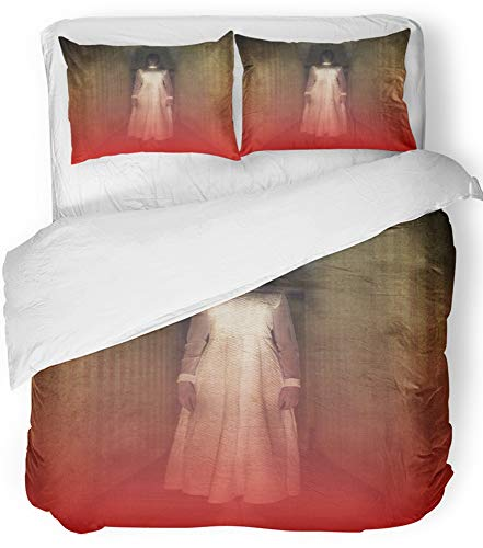 Emvency 3 Piece Duvet Cover Set Breathable Brushed Microfiber Fabric Creepy Horror Movie Scene with Girl Ghost in White Dress Hair Hand Dark Dead Bedding Set with 2 Pillow Covers Full/Queen Size]()