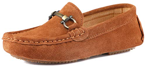 SKOEX Boy's Suede Loafers Slip On Boat Shoes US Size 1M,Brown(Suede)