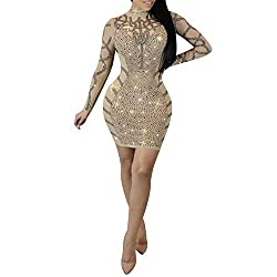 Beige Dress With Diamond Process
