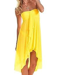 f14df24a46982 Women s Mesh Swimsuit Cover Up Bikini Sarong Strapless Dress Midi Skirt  Beach Coverup Dress