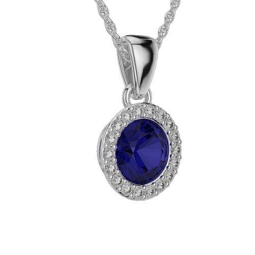 Or blanc/or/Rose/Jaune/Or/Platine forme ronde Saphir et Diamant Collier agdnc-1075-vsgh