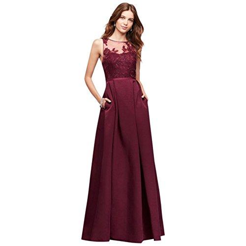Appliqued Bridesmaid Style OC290023 Dress Faille Illusion Wine xOO87q0Tw
