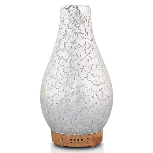 MELLER Silver Plated Essential Oil Diffuser, Aromatherapy Ultrasonic Humidifier, Night Light with Handmade Glass, BPA Free, 7 Color Changing, Waterless Auto-Off, Timer Setting