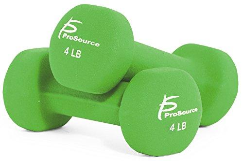ProsourceFit Set of 2 Neoprene Dumbbell Coated for Non-Slip Grip, Lime-4lb
