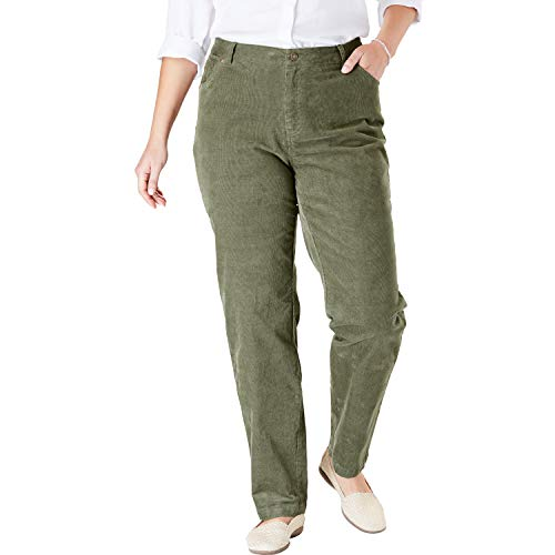 - Woman Within Women's Plus Size Corduroy Straight Leg Stretch Pant - Olive Green, 24 W