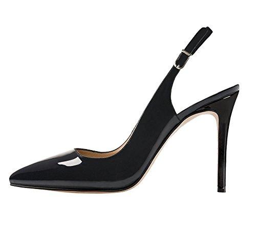 EKS Women's Slingbacks Shoes Thin Heels Pointy Pumps Court Shoes Black-patent lGt4DUj