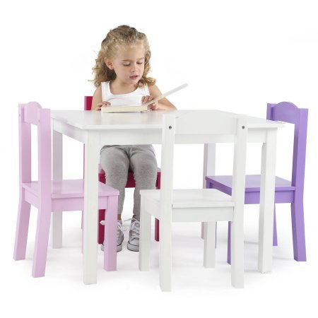Wood Table and Chair Set, Multiple Colors, 4 Chairs, Made from Hardwood and Engineered Wood, Kid's Playing Set, Children Furniture, Bedroom, Playroom,BONUS e-book (White/Pink & Purple)
