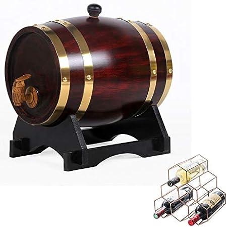 SS mutong Barril de Roble Oak Aging Barrel 5L, Decoración para el Hogar Barril de Vino con Botellero Adecuado para Almacenar Todo Tipo de Licores, Miel, Vinagre Vino, Cerveza, Sidra, Whisky.