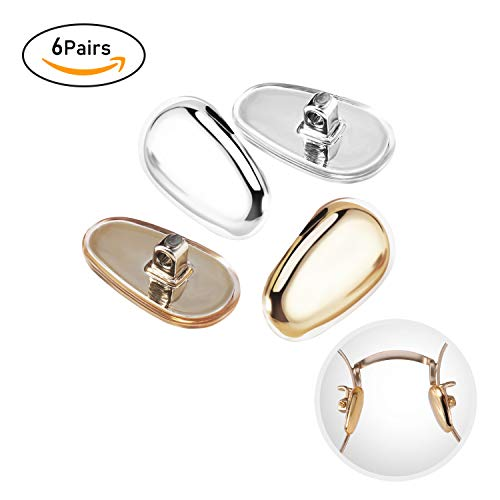 Eyeglass Nose Pad Repair Kit,6 Pairs Nose Pad Replacement for Glasses,Sunglasses Gold Silver Soft Silicone Nose Pads