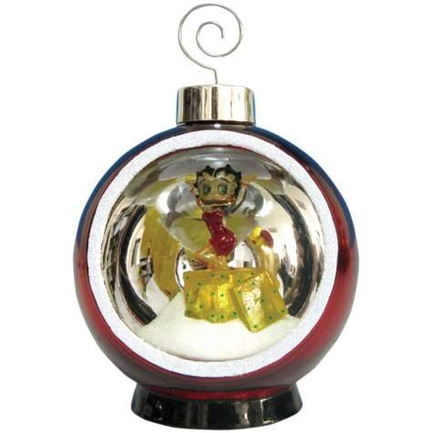 4 Inch Lighted Holiday Christmas Ornament with Betty Boop Presents