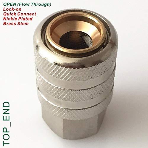 (Tire Repair Tools - Open End (Flow Through),Nickle Plated Brass,Air Chuck,1/4 NPT Thread,Lock On Quick Connect,Brass Stem,Work w/Tire Valve Stem )