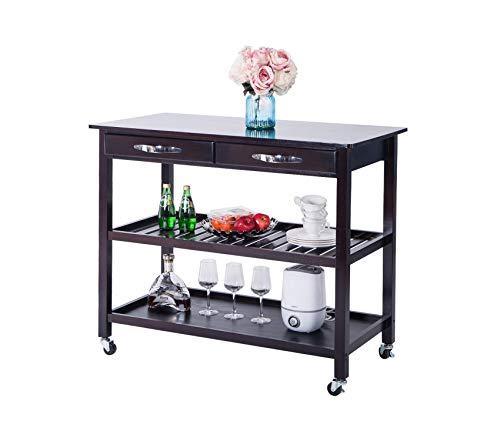 Wood & Style Office Home Furniture Premium Kitchen Island Cart with Wheels Drawers & Shelves Storage Shelf(Espresso)