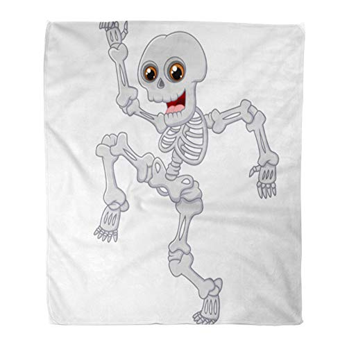 (Emvency Throw Blanket Warm Cozy Print Flannel Cartoon Halloween Skeleton Jumping Dance on Funny Comfortable Soft for Bed Sofa and Couch 60x80)